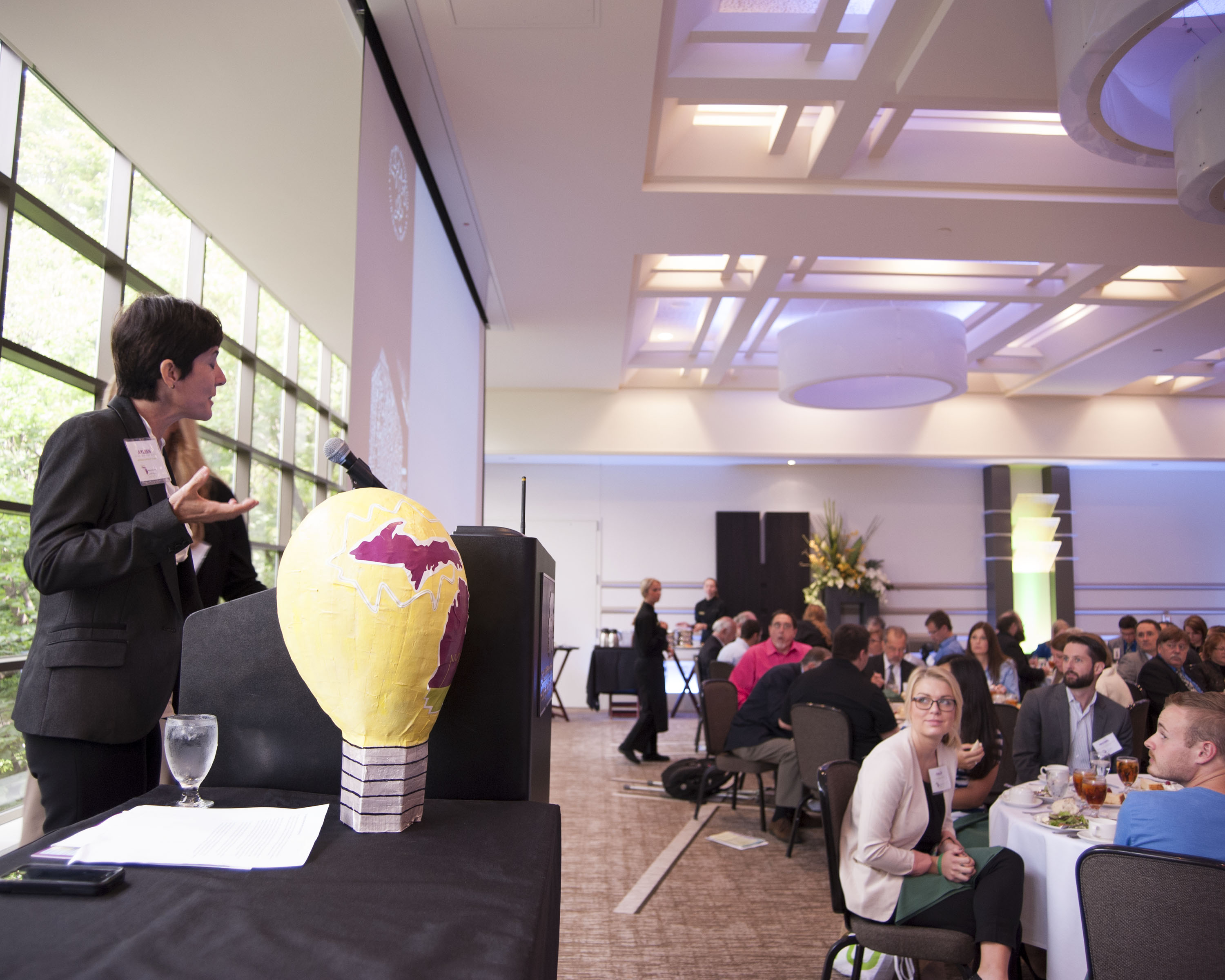Photo of keynote speaker Ayleen Robainas Barcia presenting at the Innovate Michigan! Summit on September 4, 2014.
