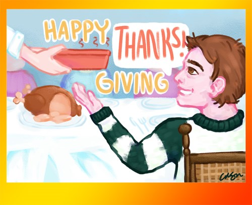 Happy 'Thanks' Giving! Drawing of a child eating at a Thanksgiving dinner.