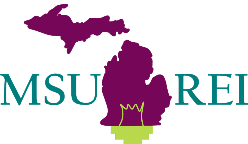 MSU REI Logo with outline of the state of Michigan